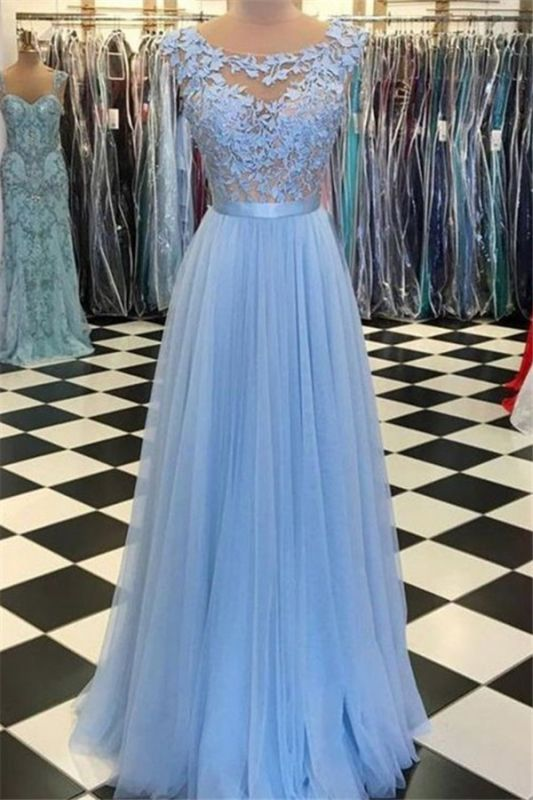 New-arrival Long-Sleeves Sheath Appliques Open Back Prom Dress