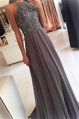 Popular A-Line Chiffon Appliques Sleeveless Floor-Length Bridesmaid Dress