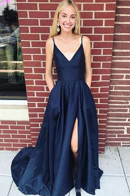 Elegant One-Shoulder A-line Front-Split Sleeveless Long Bridesmaid Dress