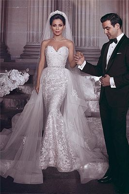 Stylish Strapless Sweetheart Tulle Appliques Wedding Dress