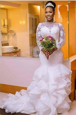 Elegant Jewel Long-Sleeves Tulle Lace Long Wedding Dress with Court Train