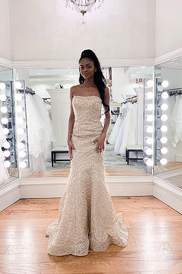 Luxury Strapless Beadings Mermaid Wedding Dress | Affordable Sleeveless Long Bridal Gown
