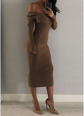 Sexy Women Deep V Neck Off-the-Shoulder Long Sleeve Solid Ribbed Slim Midi Bodycon Dress