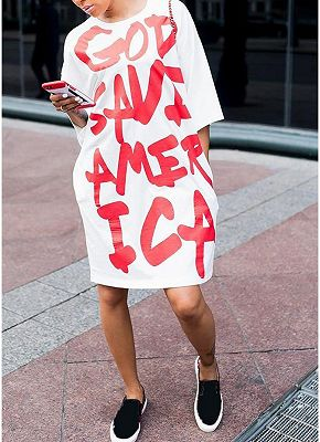 Oversized Letters Print Half Sleeves Side Pockets Loose Shift T-shirt Dress