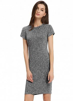 Casual Knitted Round Neck Slim Mini Dress