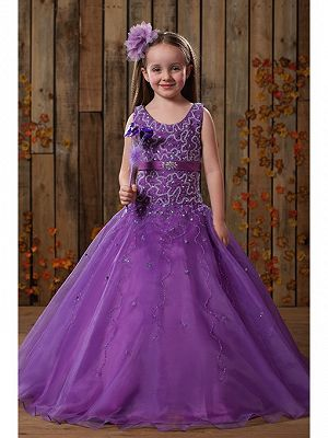 Beautiful Ball Gown Floor Length Purple Tulle Flower Girl Dresses Cheap