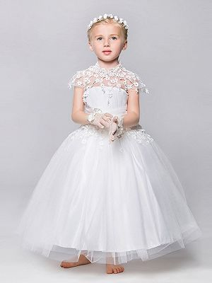Cheap White Lace Ball Gown Ankle-Length Tulle Flower Girl Dresses