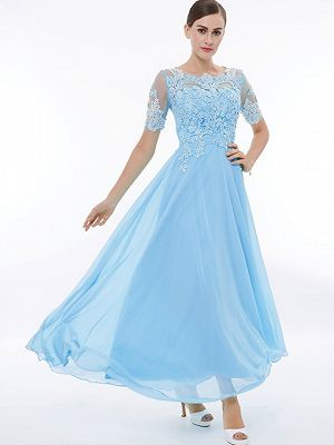 Cheap A Line Lace Applique Prom Party Dress With Short Sleeve