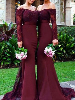 Off the Shoulder Appliques Bridesmaid Dress with Long Sleeve