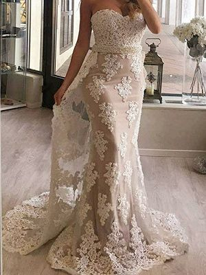 Sweetheart Applique Beaded Mermaid Evening Dress With Sweep Train
