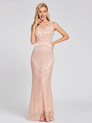 Scoop Neck Mermaid Lace Evening Dress