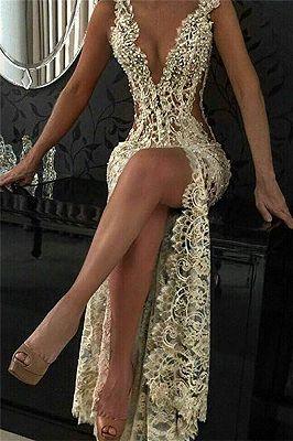 Sexy Lace Evening Gowns 2018 Sleeveless Beading Split Popular Prom Dresses CE0061