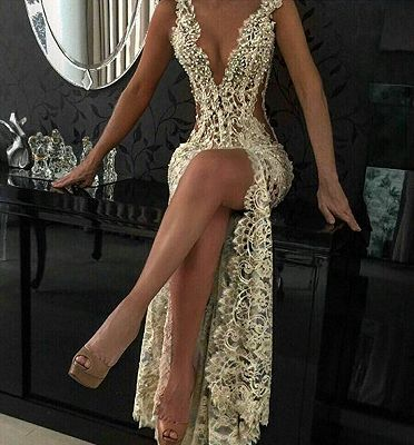 Sexy Lace Evening Gowns 2018 Sleeveless Beading Split Popular Prom Dresses CE0061_3